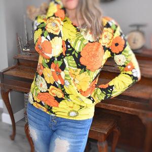 Zara Retro Floral Twist Front Shirt Top